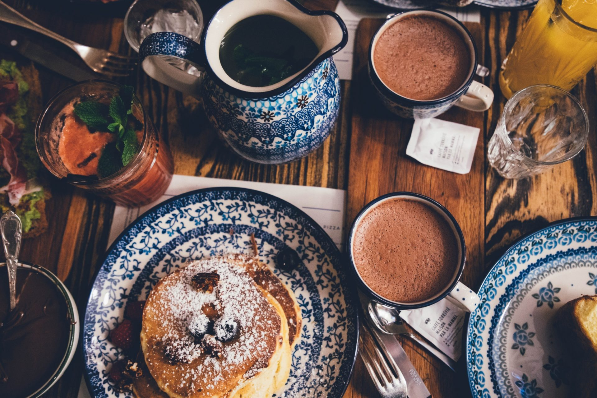 Pancakes and cacao on the table