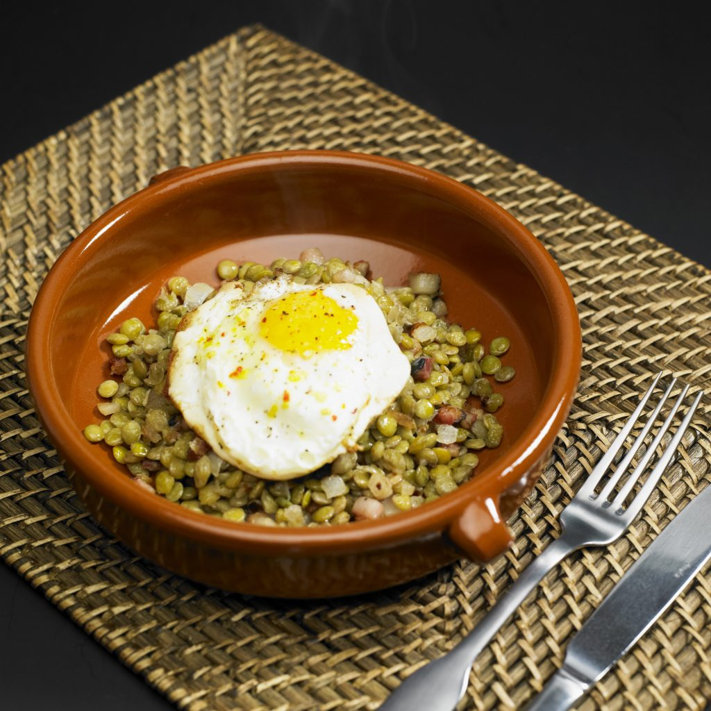 New Year's lentils with fried egg